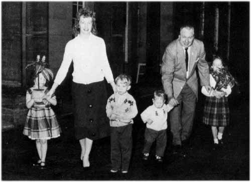 L Ron Hubbard and family. From the left: Suzette (4), wife Mary Sue, Quentin (5), Arthur (1) and Diana (7)