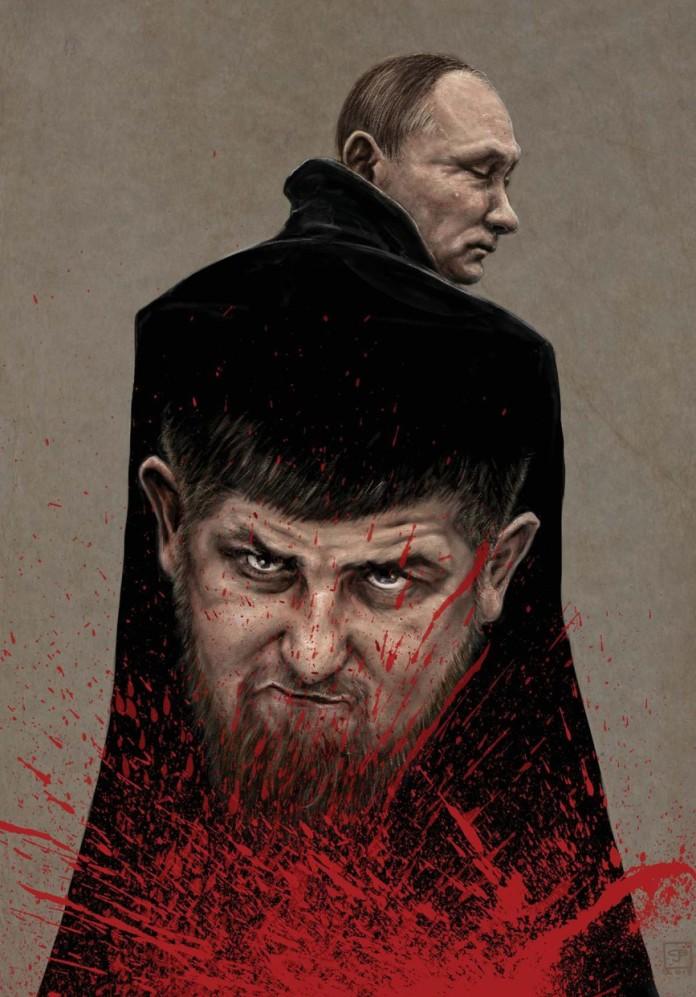 Putin wearing a blood soaked cape bearing Ramzan Kadyrov's face